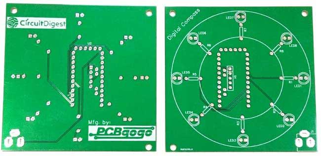 PCB para bússola digital usando Arduino e magnetômetro HMC5883L